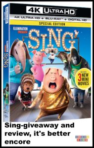 Sing, giveaway, sing movie, mini-movie, sing blu-ray DVD, 4k Ultra HD combo pack