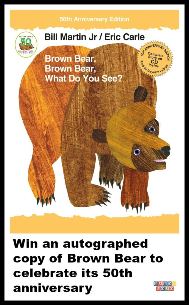 This is a giveaway for an autographed 50th anniversary edition of Brown Bear, Brown Bear, What Do You See by Bill Martin Jr. and Eric Carle and swag.