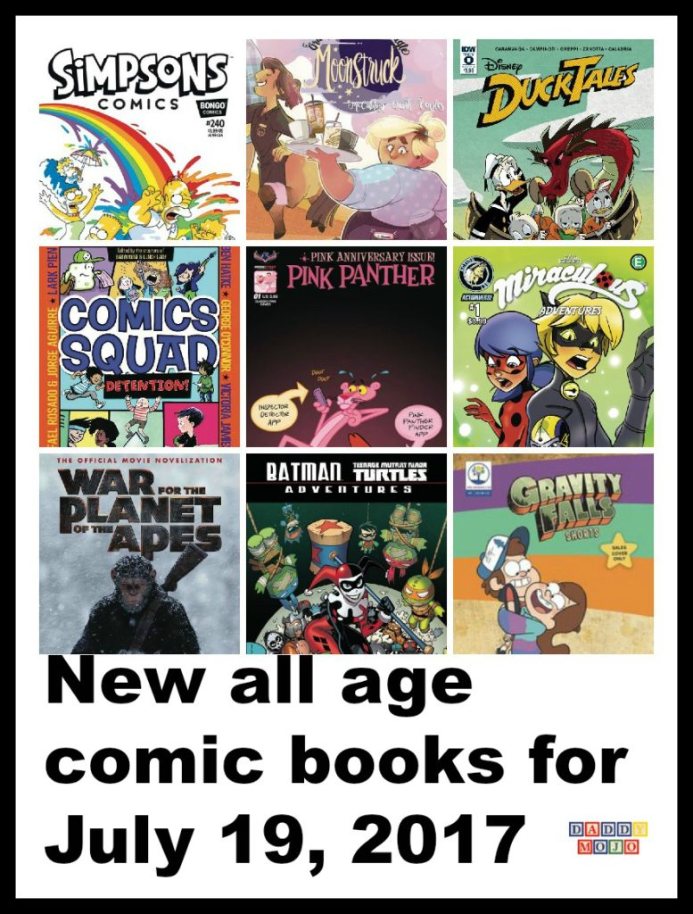 Ducktales, Disney XD, War for the planet of the apes, tween, movie novelization, batman, tmnt adventures, all age comic books, comic books, pink panther, anniversary, Simpsons, Simpsons comics,