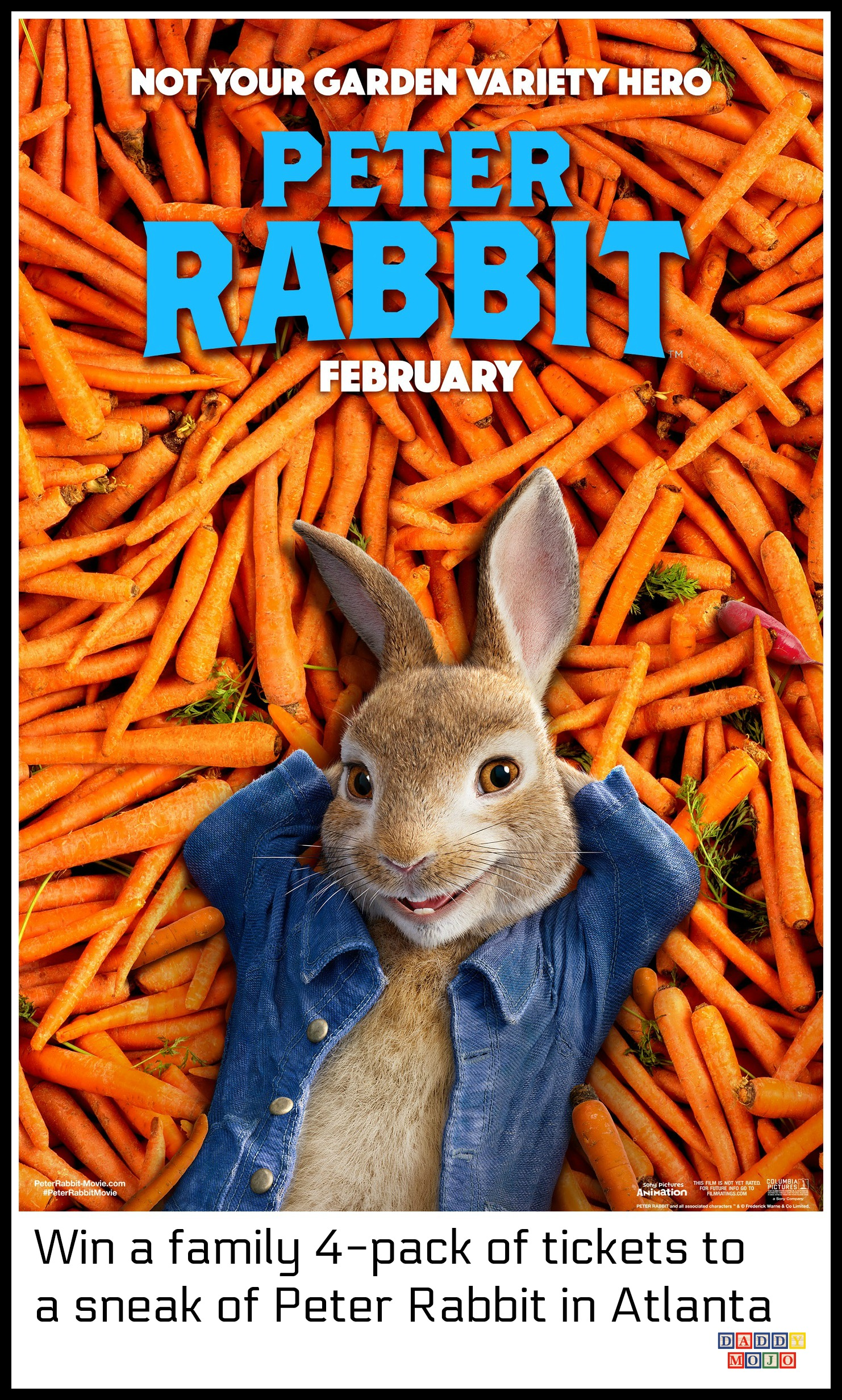 Win a family 4 pack of tickets to a sneak of peter rabbit - Peter rabbit movie wallpaper ...