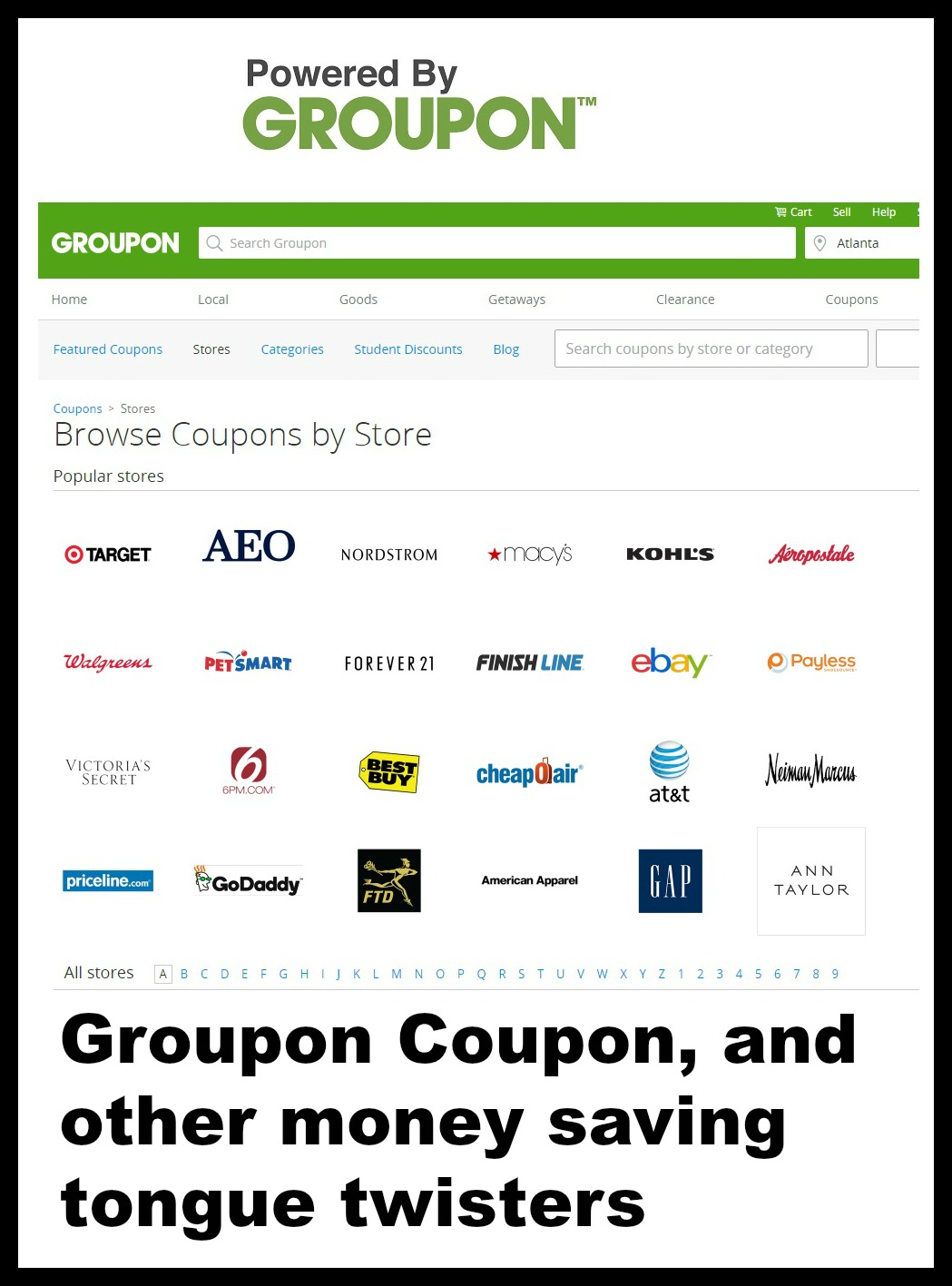 Groupon Coupon And Other Money Saving Tongue Twisters